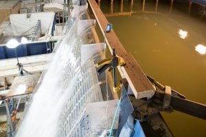 Colorado State University Civil and Environmental Engineering researchers do a phase I simulation of the planned Gross Reservoir Expansion Stepped Spillway, June 12, 2019.