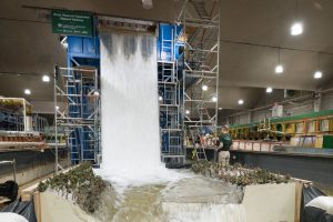Colorado State University Civil and Environmental Engineering researchers do a  simulation of the planned Gross Reservoir Expansion Stepped Spillway, September 9, 2019.